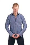Indivíduo adulto em um isolado azul da camisa listrada Imagem de Stock Royalty Free