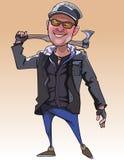Indivíduo alegre dos desenhos animados com um machado ilustração royalty free