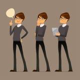 Indivíduo bonito dos desenhos animados com vidros Fotografia de Stock