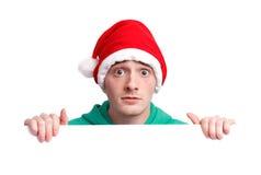 Indivíduo com chapéu de Santa Imagem de Stock Royalty Free