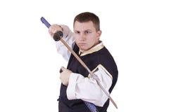 Indivíduo com espada japonesa fotos de stock royalty free