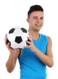 Indivíduo com um futebol Imagens de Stock Royalty Free