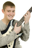 Indivíduo com uma guitarra Imagens de Stock Royalty Free