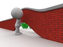 homem 3D que olha sob a parede ao dinheiro no outro lado Fotos de Stock Royalty Free