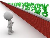 homem 3D que olha o dinheiro sobre a parede Fotografia de Stock