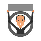Indivíduo dos desenhos animados do ícone Vector a ilustração de um homem novo com um sinal Foto de Stock