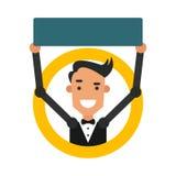 Indivíduo dos desenhos animados do ícone Vector a ilustração de um homem novo com um sinal Imagens de Stock Royalty Free