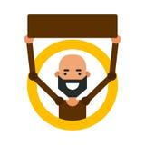 Indivíduo dos desenhos animados do ícone Vector a ilustração de um homem novo com um sinal Fotografia de Stock Royalty Free