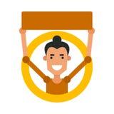 Indivíduo dos desenhos animados do ícone Vector a ilustração de um homem novo com um sinal Fotos de Stock
