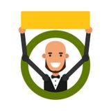 Indivíduo dos desenhos animados do ícone Vector a ilustração de um homem novo com um sinal Foto de Stock Royalty Free
