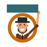 Indivíduo dos desenhos animados do ícone Vector a ilustração de um homem novo com um sinal Fotografia de Stock