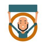Indivíduo dos desenhos animados do ícone Vector a ilustração de um homem novo com um sinal Fotos de Stock Royalty Free