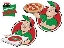 Indivíduo dos desenhos animados que serve o sinal da pizza ilustração do vetor