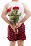 Indivíduo dos Valentim no roupa interior com rosas imagens de stock royalty free