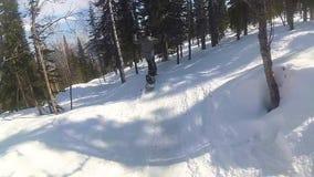 Indivíduo feliz em um snowboard que desliza abaixo da inclinação no dia ensolarado vídeos de arquivo
