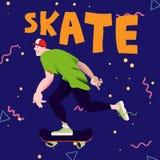 Indivíduo fresco Skateboarding Cartaz para bens dos skateres com ` do patim do ` do texto no fundo azul Ilustração do vetor ilustração stock