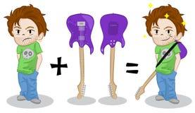 Indivíduo fresco triste triste sem guitarra elétrica O homem feliz comprou uma guitarra elétrica Parte dianteira da guitarra e vi ilustração royalty free