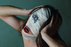 Indivíduo horrível com cara assustador, esquizofrenia Fotos de Stock Royalty Free