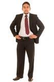 Indivíduo latino em um terno com laço vermelho fotos de stock royalty free