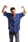 Indivíduo na série azul da camisa Imagens de Stock
