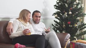 Indivíduo novo considerável que abraça sua amiga bonita que senta-se em um café bebendo do sofá ao lado da árvore de Natal Amor video estoque