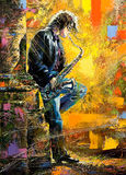 Indivíduo novo que joga um saxofone ilustração royalty free
