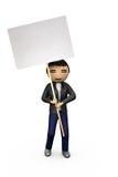 Indivíduo oriental do Asian 3D que prende o cartaz em branco ilustração stock