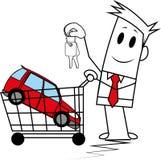 Indivíduo quadrado que compra um carro Imagens de Stock Royalty Free