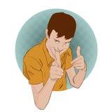 Indivíduo que mostra o gesto de aprovação com suas mãos Ilustração retro do estilo do pop art Bandas desenhadas de imitação Imagem de Stock Royalty Free