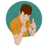 Indivíduo que mostra o gesto de aprovação com suas mãos Ilustração retro do vetor do estilo do pop art Bandas desenhadas de imita Foto de Stock Royalty Free