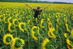 Indivíduo rural no girassol Imagens de Stock Royalty Free