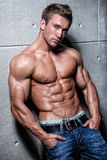 Indivíduo 'sexy' novo muscular que levanta nas calças de brim e desencapado-chested
