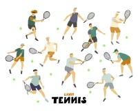 Indivíduos do menino do grupo do homem do jogador de tênis com figura humana da raquete e da bola no movimento ilustração stock