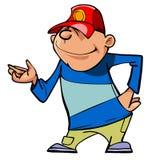 Indivíduo em um boné de beisebol, mão do personagem de banda desenhada das mostras Imagens de Stock Royalty Free