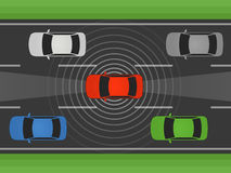 Individu autonome conduisant la voiture, le véhicule ou l'automobile avec le radar à laser et l'illustration plate de radar Photographie stock libre de droits