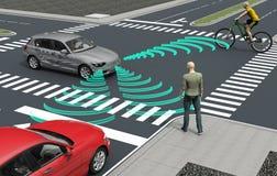individu conduisant des voitures d'ordinateur électronique sur la route illustration libre de droits