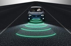 Individu conduisant la voiture d'ordinateur électronique sur la route illustration de vecteur