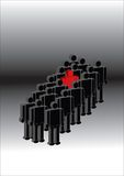 Individual. Red in a black group vector illustration