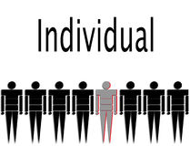 Individual. This represents an individual in a crowed royalty free illustration