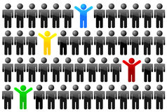 Individual. Illustration of individual happy man in people crowd vector illustration