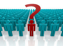 Individual asking a Question. 3d render of a group of people gathered with one person front and center with a question to ask.  Question mark prominent Stock Photos