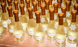 Small Bottles of Wine as Wedding Favors stock image