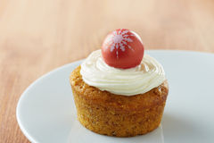 Individual carrot cake on a dish Stock Photography