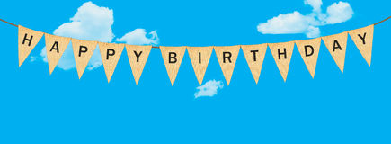 Individual cloth pennants or flags with Happy Birthday Stock Photography