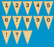 Individual cloth pennants or flags with numbers Stock Photos