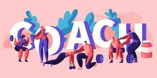Individual Coach Fitness Exercise Banner. Instructor Assistant Personal Training Body Strong Muscle Bodybuilding Exercise Strength. Sportsman Health. Flat royalty free illustration