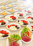 Individual cold salads and appetizers Royalty Free Stock Images