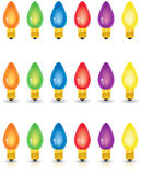 Individual Colored Christmas Lights. Isolated, with shadow and with shadow and reflection Royalty Free Stock Photos