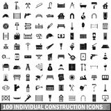 100 individual construction icons set. In simple style for any design vector illustration Royalty Free Stock Photography
