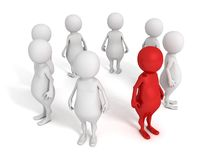 Individual 3d man stand out from crowd Stock Photos